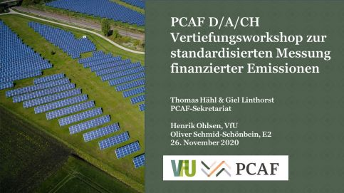 D/A/CH Advanced workshop with VfU: Measurement of financed emissions from loans and investments using the PCAF method (in German)
